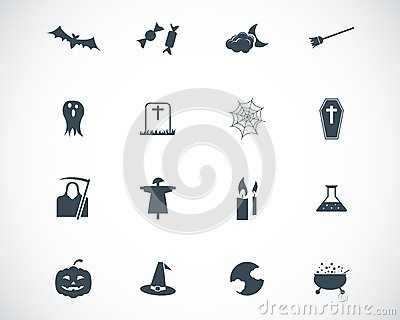 Vector black  halloween icons