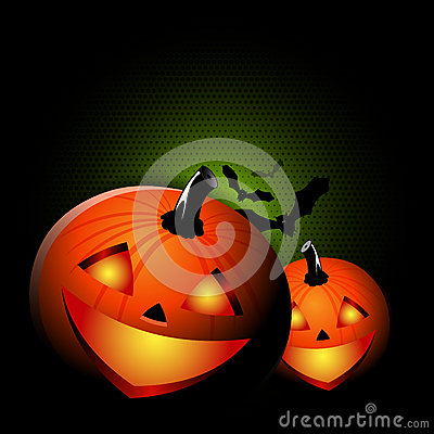 Vector black Halloween spooky background with two pumpkins