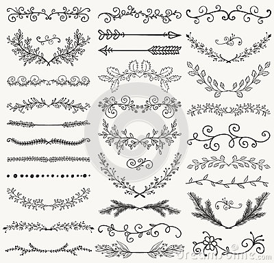 Vector Black Hand Drawn Dividers, Branches, Swirls Vector Illustration