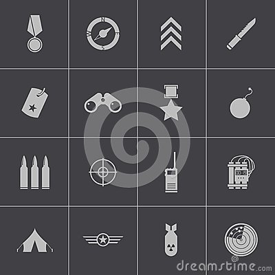 Free Vector Black  Military Icons Set Royalty Free Stock Photography - 36159527