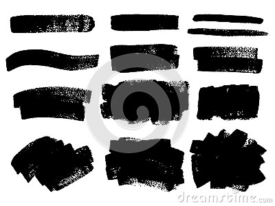 Vector black paint, ink brush stroke, brush, line or texture. Di Vector Illustration