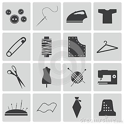 Vector black  sewing icons