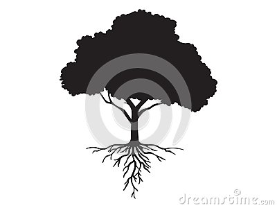 Vector black shape silhouette of a tree with roots Vector Illustration