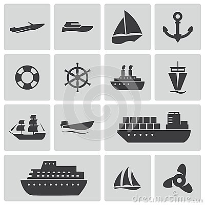 Free Vector Black Ship And Boat Icons Set Stock Images - 35256024