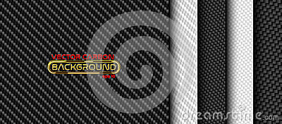 Vector black and white carbon fiber seamless background set. Textures collection Vector Illustration
