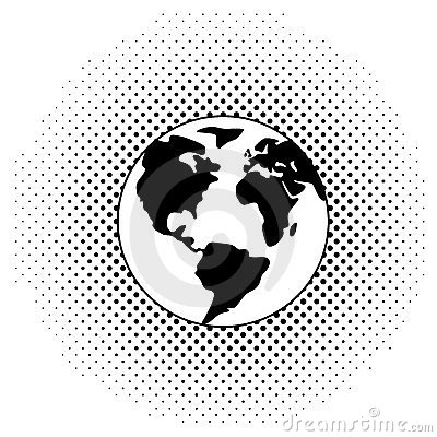 vector black and white earth globe