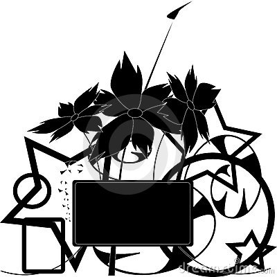 Vector black and white floral design