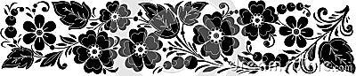 Vector black-and-white hohloma