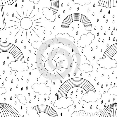 Vector black and white seamless pattern with rainbow Stock Photo
