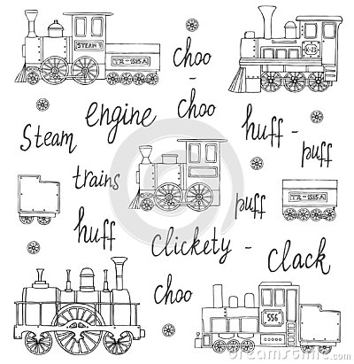 Vector black and white set of retro engines Cartoon Illustration