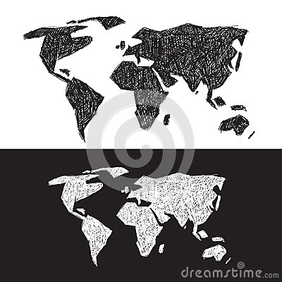 Vector Black and White World Map Vector Illustration
