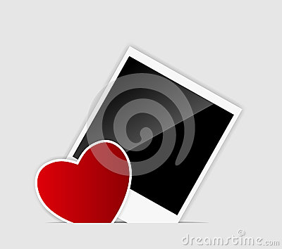 Vector blank Instant photo with heart vector