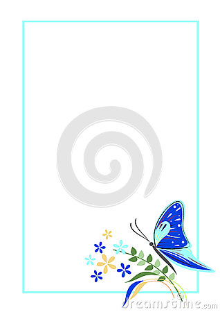 Vector Blank For Letter Or Greeting Card. Blue Form With Frame ...