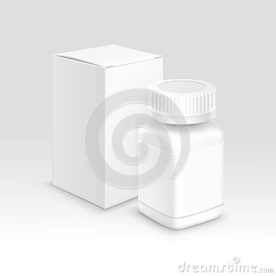 Free Vector Blank Medical Packaging Paper Box And Bottle For Pills Royalty Free Stock Images - 61374199