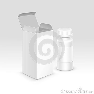 Free Vector Blank Medical Packaging Paper Box And Bottle For Pills Royalty Free Stock Images - 61374239