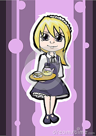 Vector blonde waitress