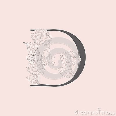 Free Vector Blooming Floral Initial D Monogram And Logo Stock Images - 140876094