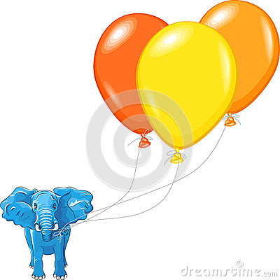 vector Blue African elephant with balloons