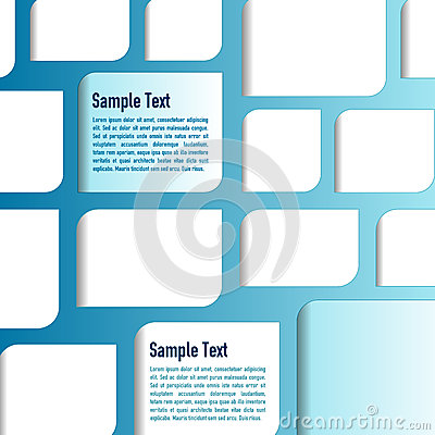 Vector blue background with white papers