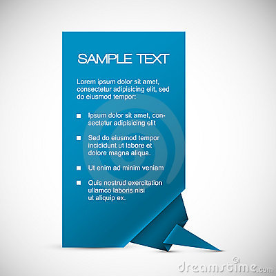 Vector Blue card with origami corner