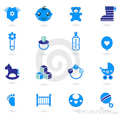 Vector blue Icons collection for baby boy
