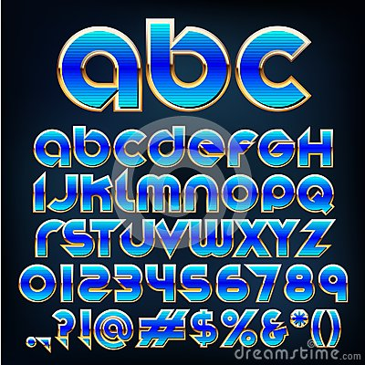 Vector blue metallic font