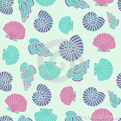 Free Vector Blue Seamless Sea Pattern With Seashell Illustrations Royalty Free Stock Photo - 55371065