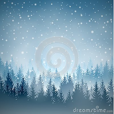Vector blue square landscape with silhouettes of trees Vector Illustration