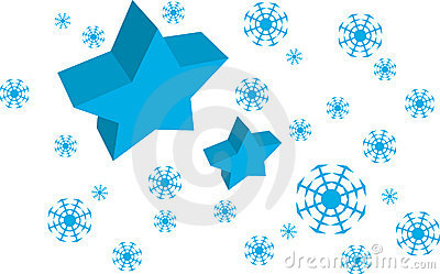 Vector Blue Star and Snow flakes background