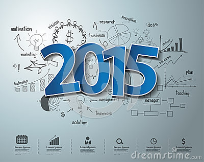 Vector blue tags label 2015 text design on creative drawing business success Vector Illustration