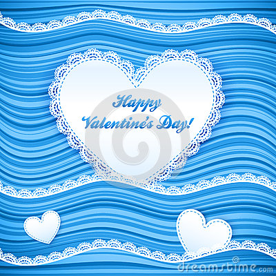 Vector blue wavy Valentine s Day background