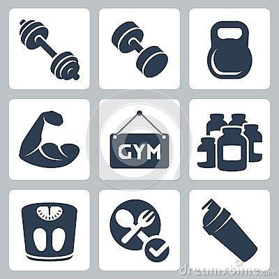 Vector bodybuilding/fitness icons set
