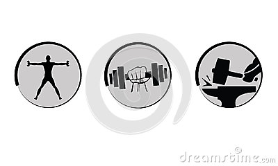 Vector bodybuilding, strength icons set.