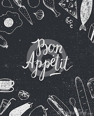 Free Vector Bon Appetit Graphic Poster With Food Illustrations, Menu Cover, Banner Stock Image - 65598291
