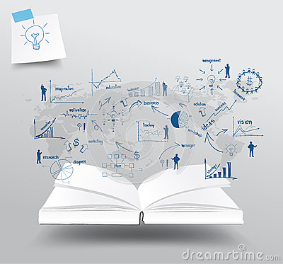 Vector book with drawing charts and graphs busines