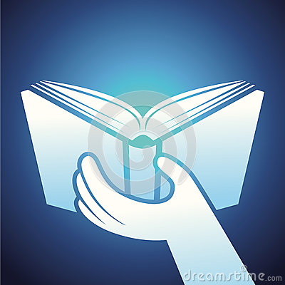 Vector book icon - hands holding textbook