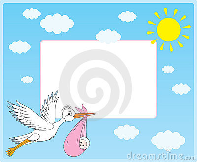 Vector border with stork and newborn