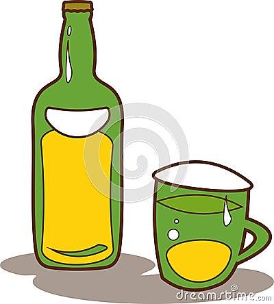 Vector bottle of beer and beer mug illustration