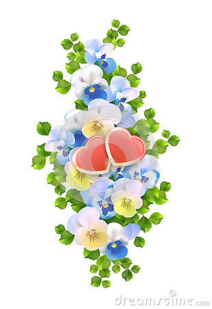 Vector bouquet flowers, hearts on white background