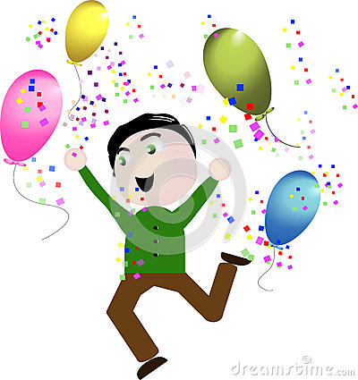 Vector boy happy celebration balloons