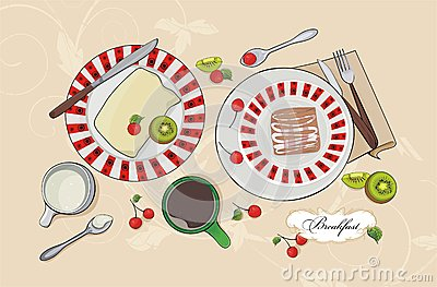 Vector breakfast set - sweet pie, fruits and coffe