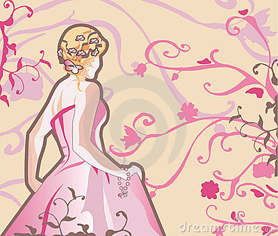 Vector bride in pink