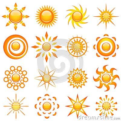 Vector brillante del sol