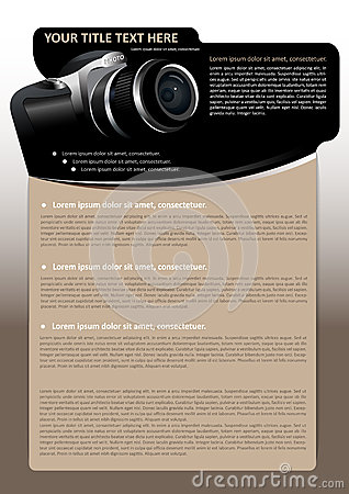 Vector brochure background with digital camera