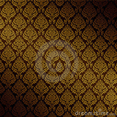Vector Brown Damask Seamless