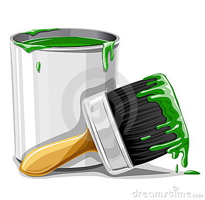 Free Vector Brush With Green Paint And Bucket Isolated Royalty Free Stock Photography - 5245677