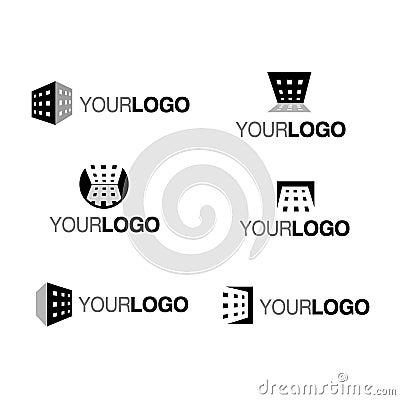 Vector building company logo mono
