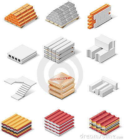 Vector building products icons. Part 1. Concrete
