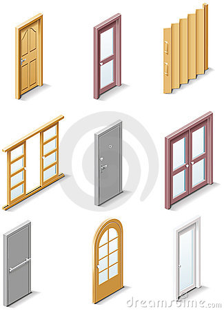 Free Vector Building Products Icons. Part 3. Doors Stock Images - 13567814