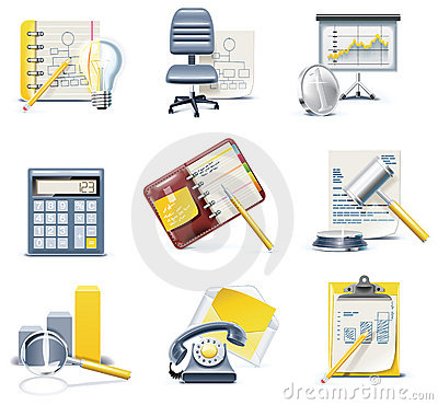 Free Vector Business And Office Icons. Part 3 Royalty Free Stock Images - 12362069